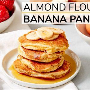 ALMOND FLOUR BANANA PANCAKES | healthy recipe (with Happy Egg)