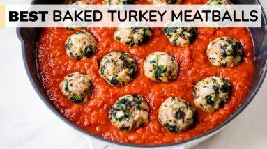 BEST BAKED TURKEY MEATBALLS | easy, healthy meatball recipe