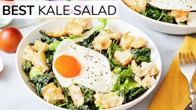BEST KALE SALAD   easy + healthy lunch idea (with happy egg)